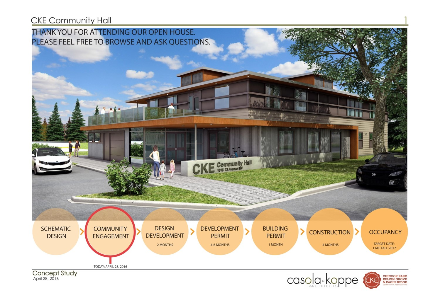 Design Concept of Hall Exterior (facing 73rd Ave SW)